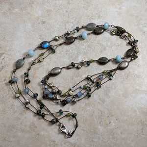 Mixed gemstone beads multi-strand long necklace